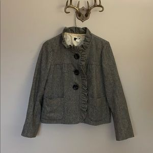Houndstooth wool silk lined ruffle coat